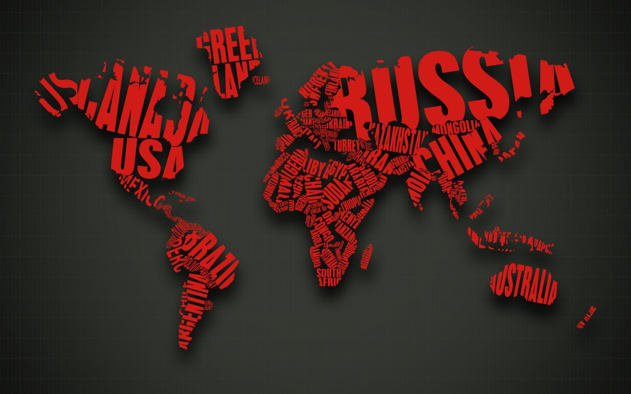 Red World Map Typography Wallpaper for Desktop 1280x800