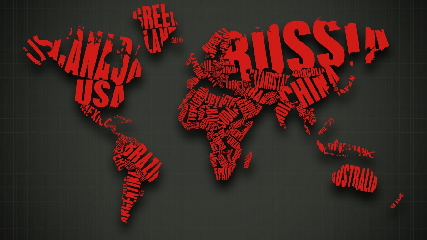 Red World Map Typography Wallpaper for Desktop 1366x768