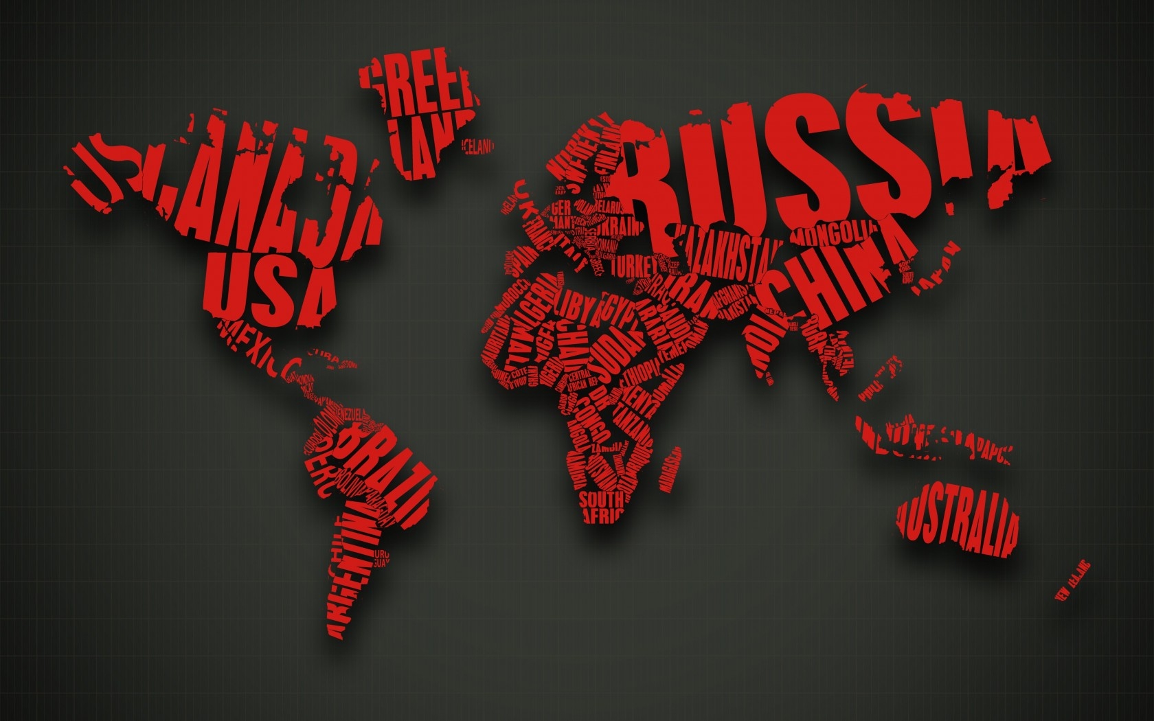 Red World Map Typography Wallpaper for Desktop 1680x1050