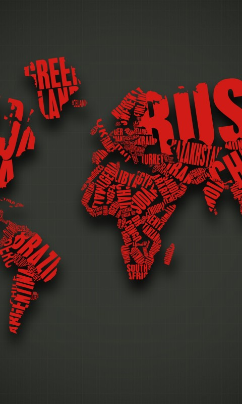 Red World Map Typography Wallpaper for HTC Desire HD