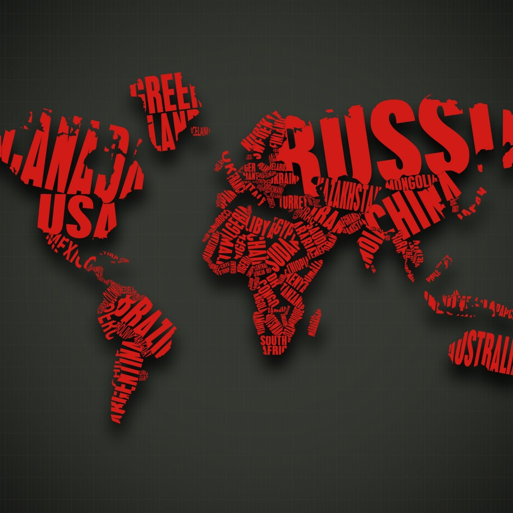 Red World Map Typography Wallpaper for Apple iPad 2