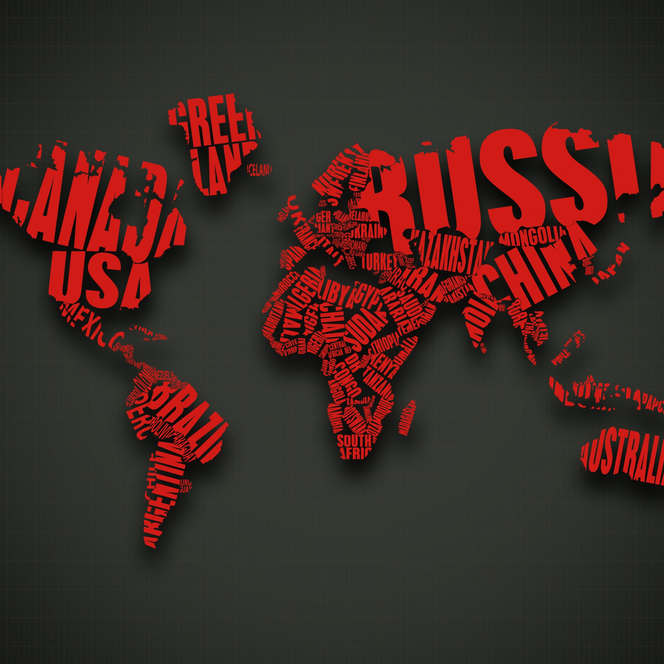 Red World Map Typography Wallpaper for Apple iPad 3