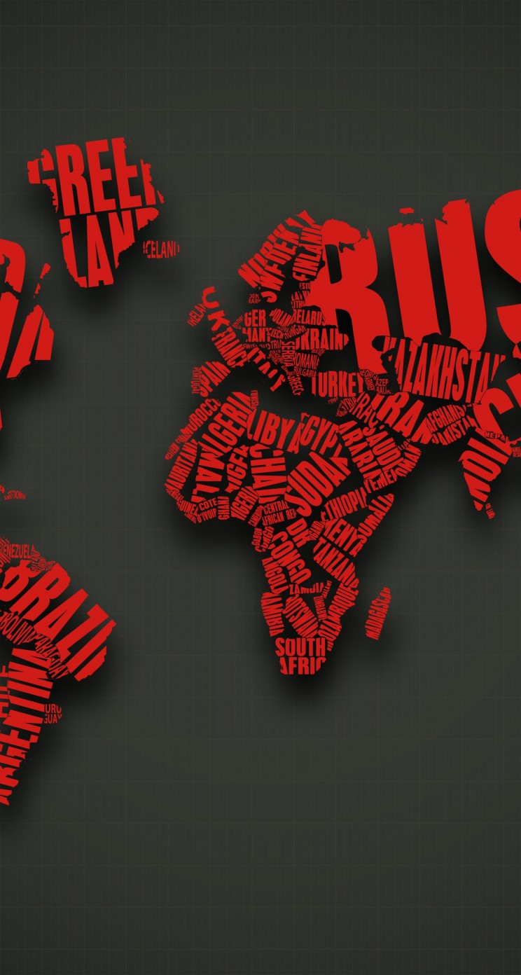 Red World Map Typography Wallpaper for Apple iPhone 5 / 5s
