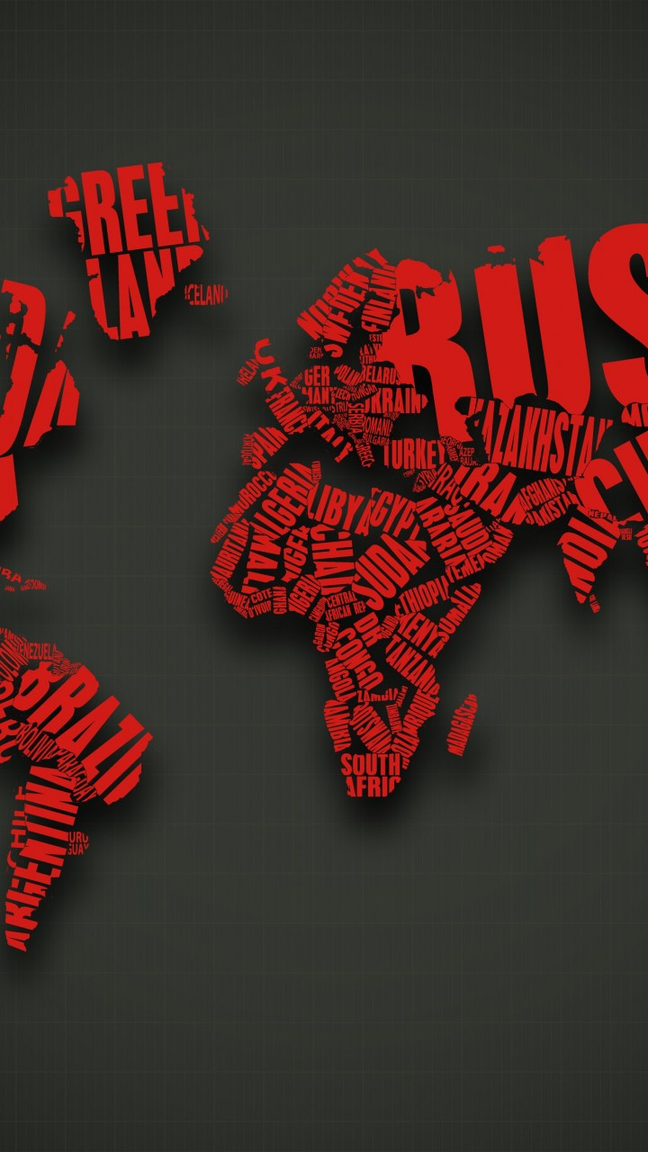 Red World Map Typography Wallpaper for Lenovo A6000