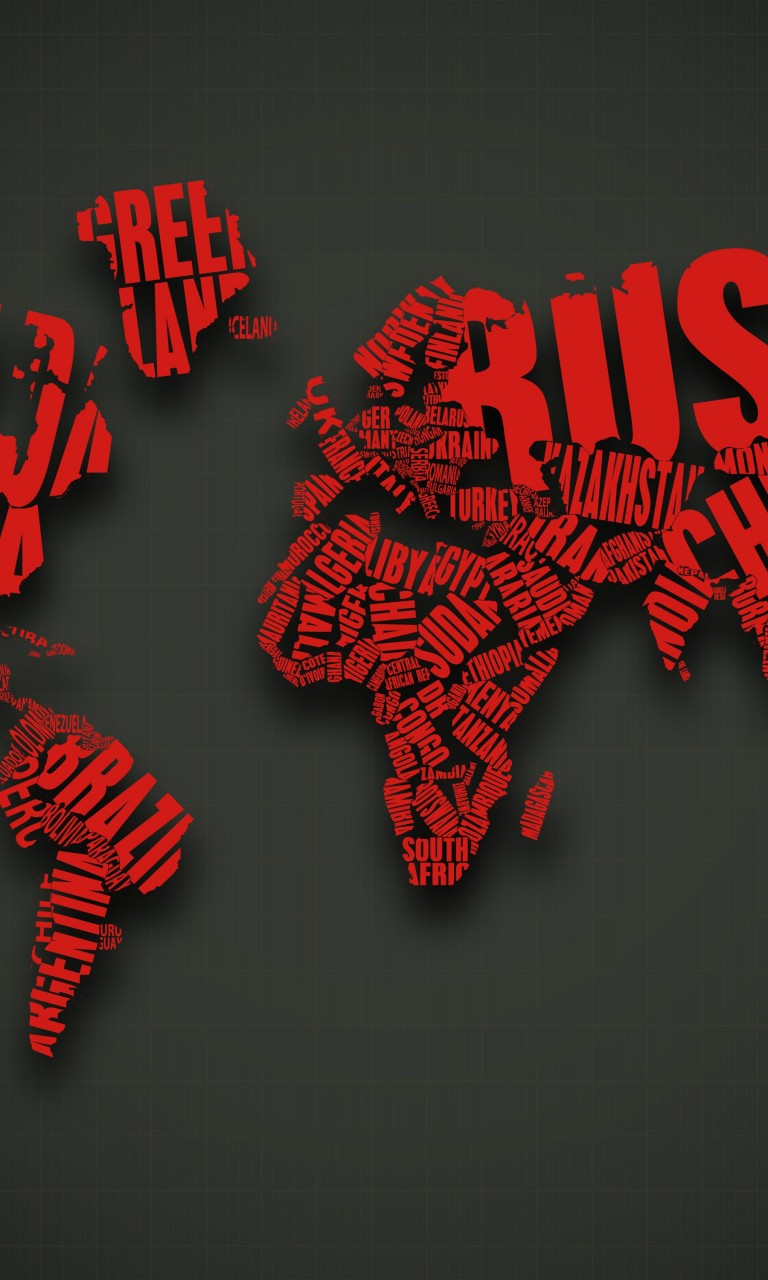 Red World Map Typography Wallpaper for LG Optimus G