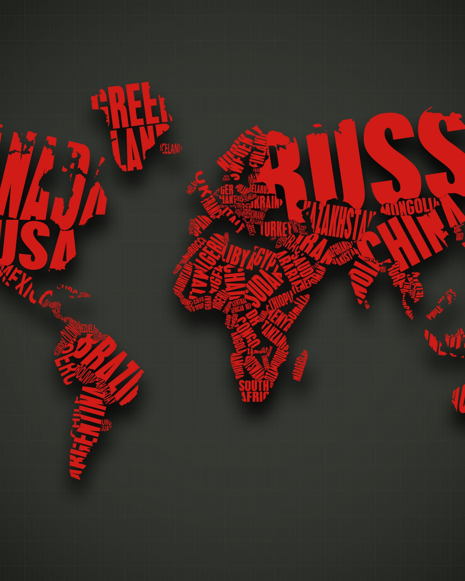 Red World Map Typography Wallpaper for Google Nexus 7