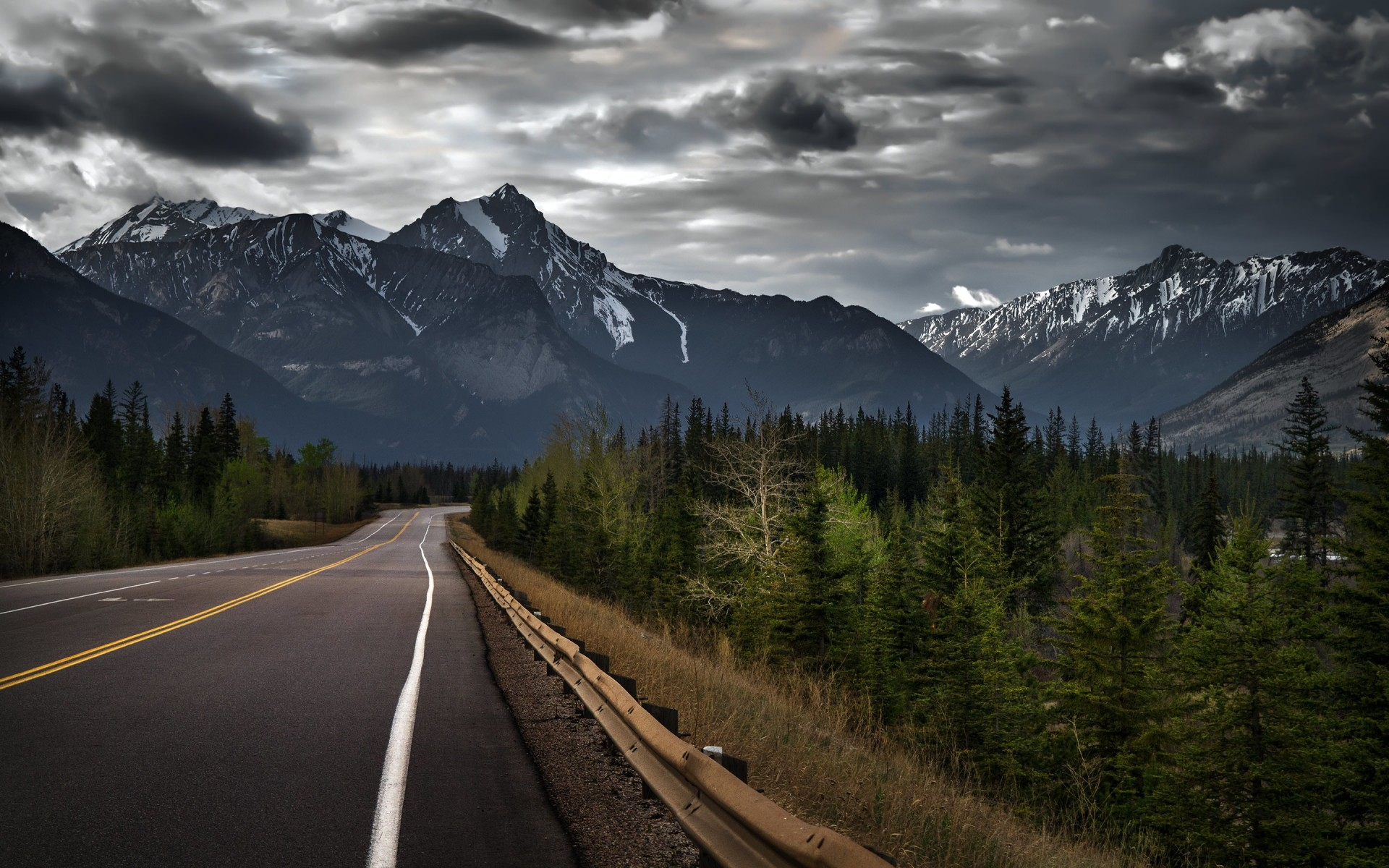 Road trip on a stormy day, Canada Wallpaper for Desktop 1920x1200