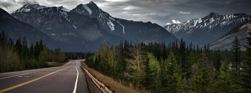 Road trip on a stormy day, Canada Wallpaper for Social Media Facebook Cover
