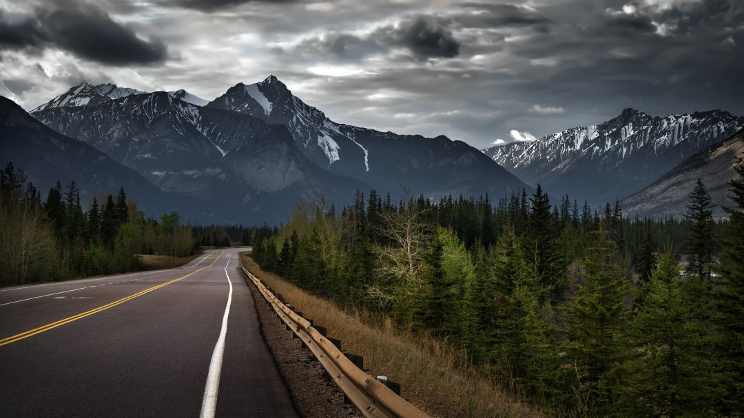 Road trip on a stormy day, Canada Wallpaper for Social Media Google Plus Cover