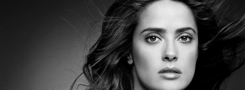 Salma Hayek Black & White Portrait Wallpaper for Social Media Facebook Cover