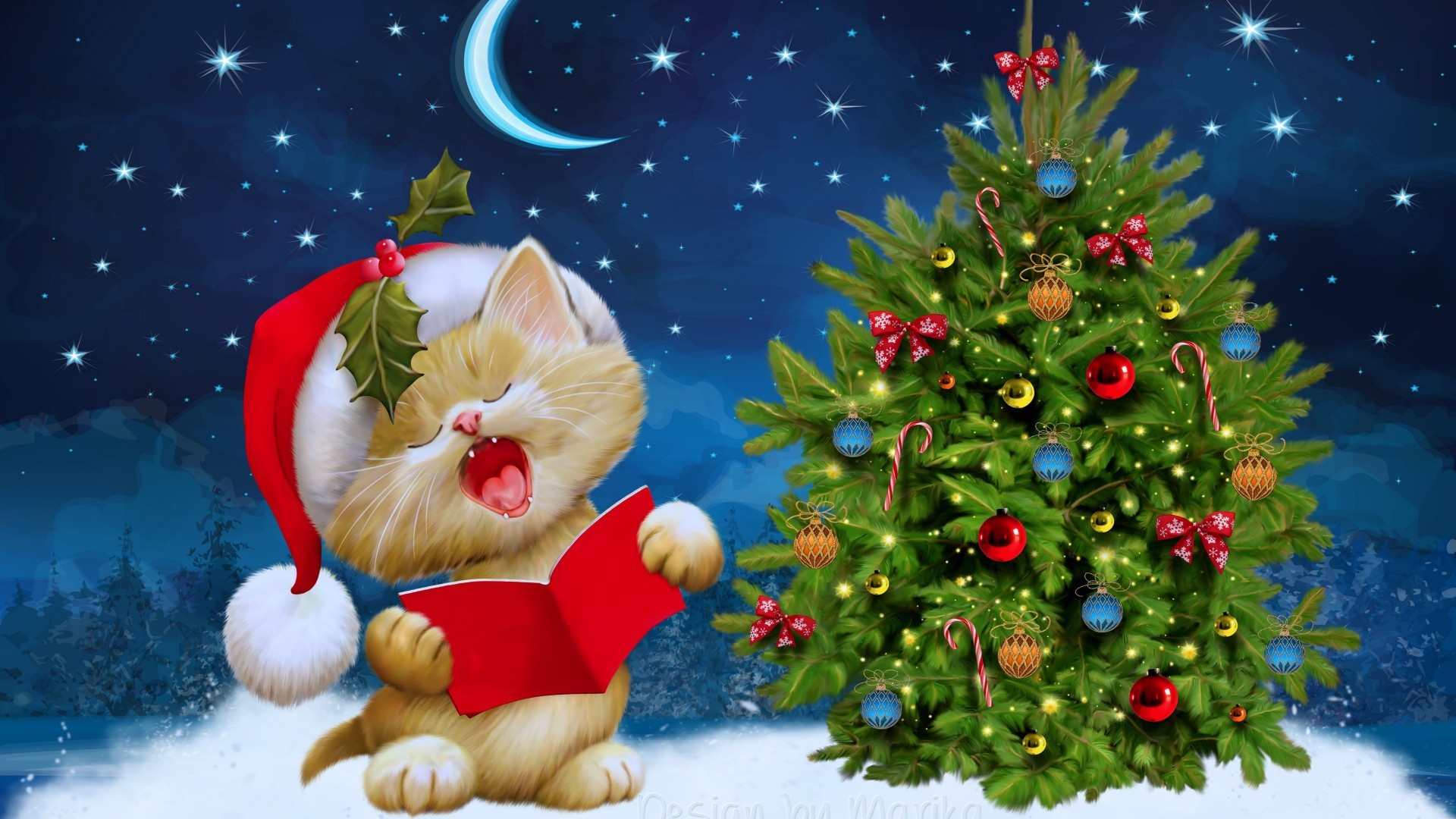 Santa Kitten Singing Christmas Carols Wallpaper for Desktop 1920x1080
