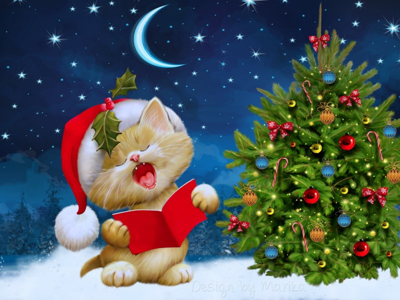 Santa Kitten Singing Christmas Carols Wallpaper for Desktop 800x600