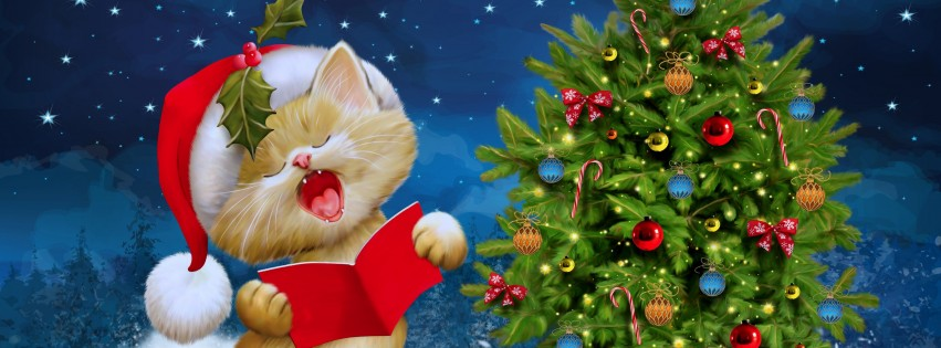 Santa Kitten Singing Christmas Carols Wallpaper for Social Media Facebook Cover