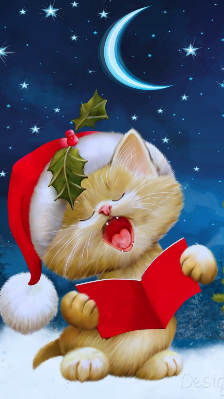 Santa Kitten Singing Christmas Carols Wallpaper for SAMSUNG Galaxy S5 Mini