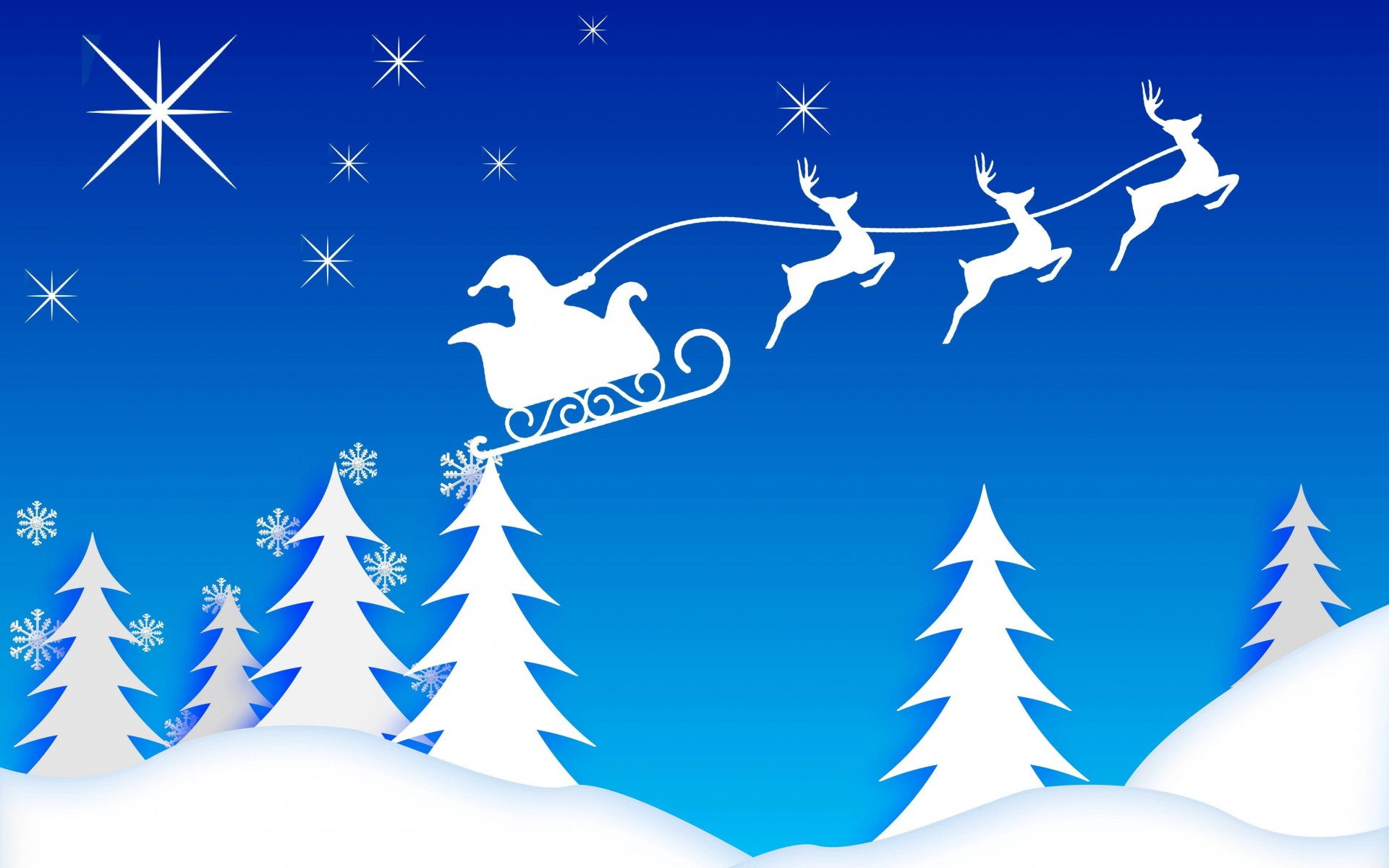 Santa's Sleigh Illustration Wallpaper for Desktop 1920x1200