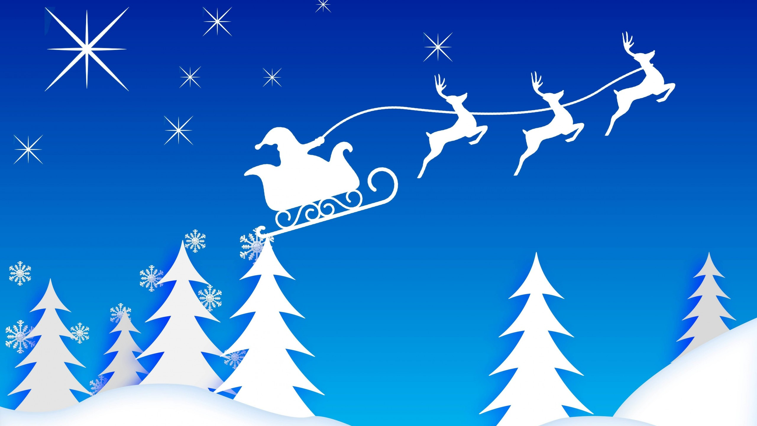 Santa's Sleigh Illustration Wallpaper for Desktop 2560x1440