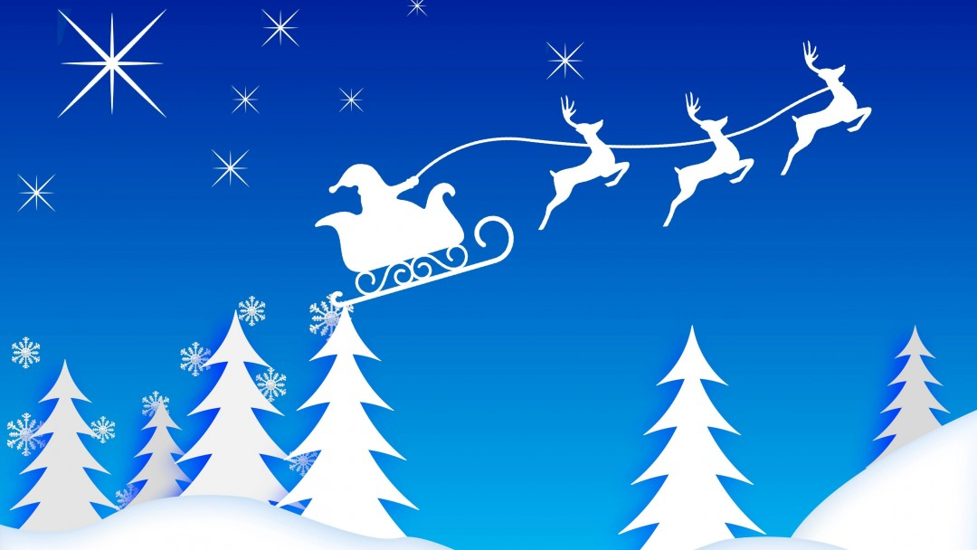 Santa's Sleigh Illustration Wallpaper for Social Media Google Plus Cover