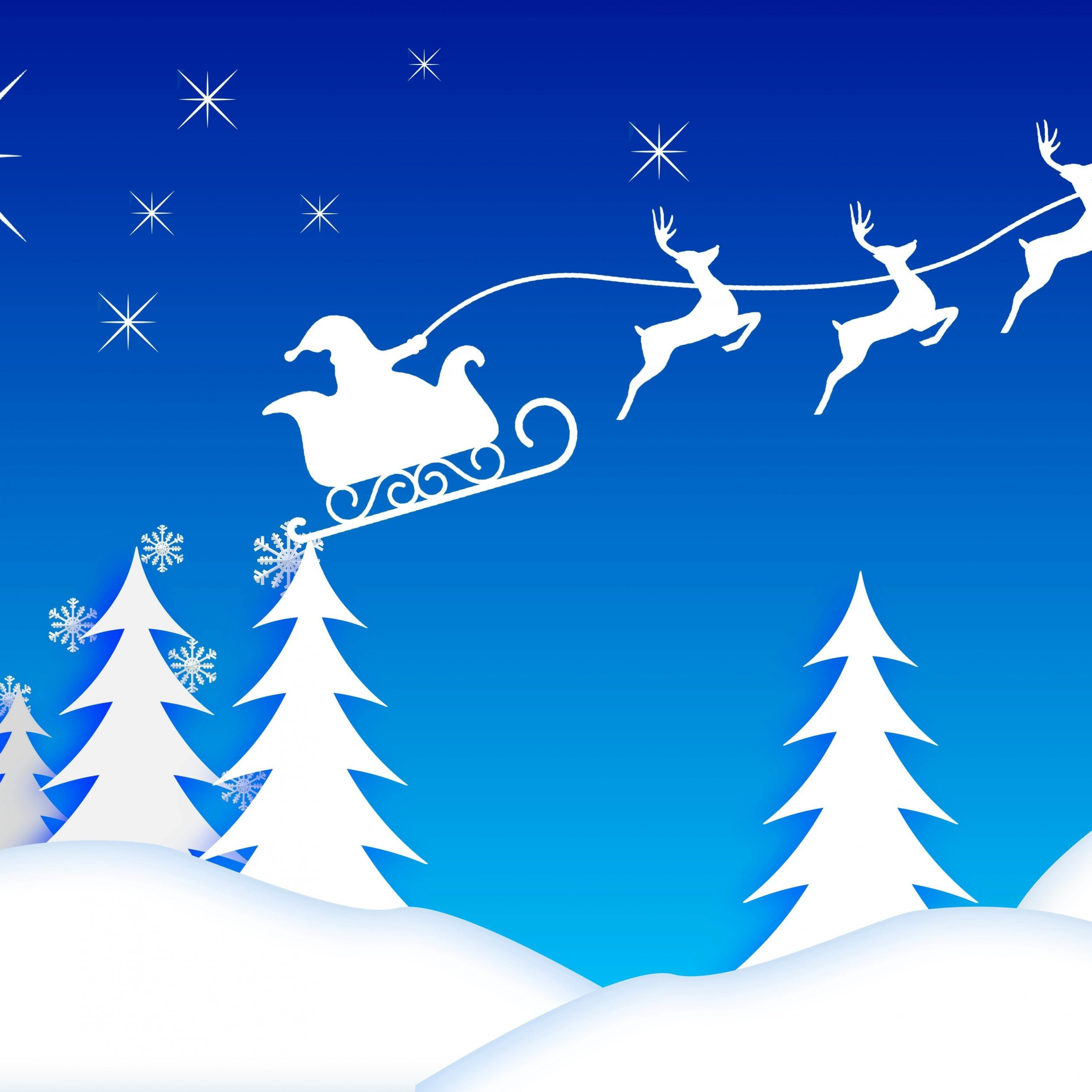 Santa's Sleigh Illustration Wallpaper for Apple iPad mini 2