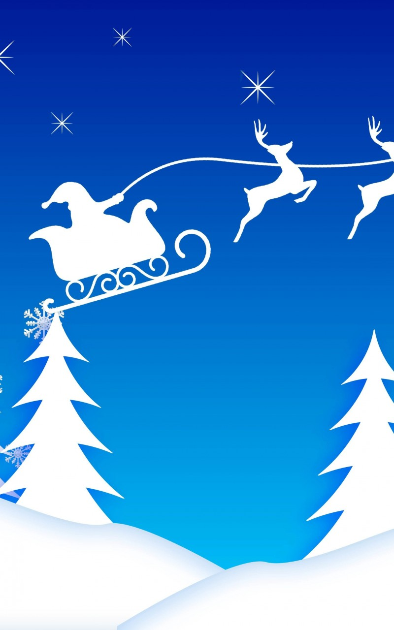 Santa's Sleigh Illustration Wallpaper for Amazon Kindle Fire HD