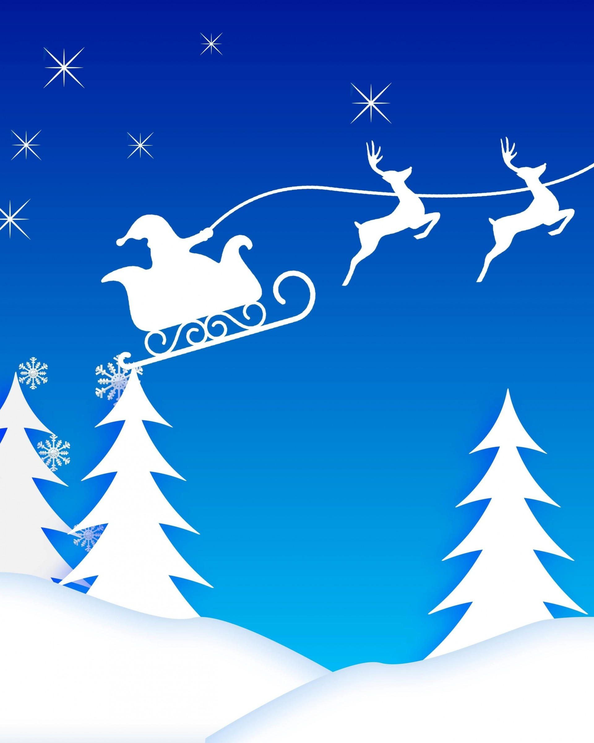 Santa's Sleigh Illustration Wallpaper for Google Nexus 7