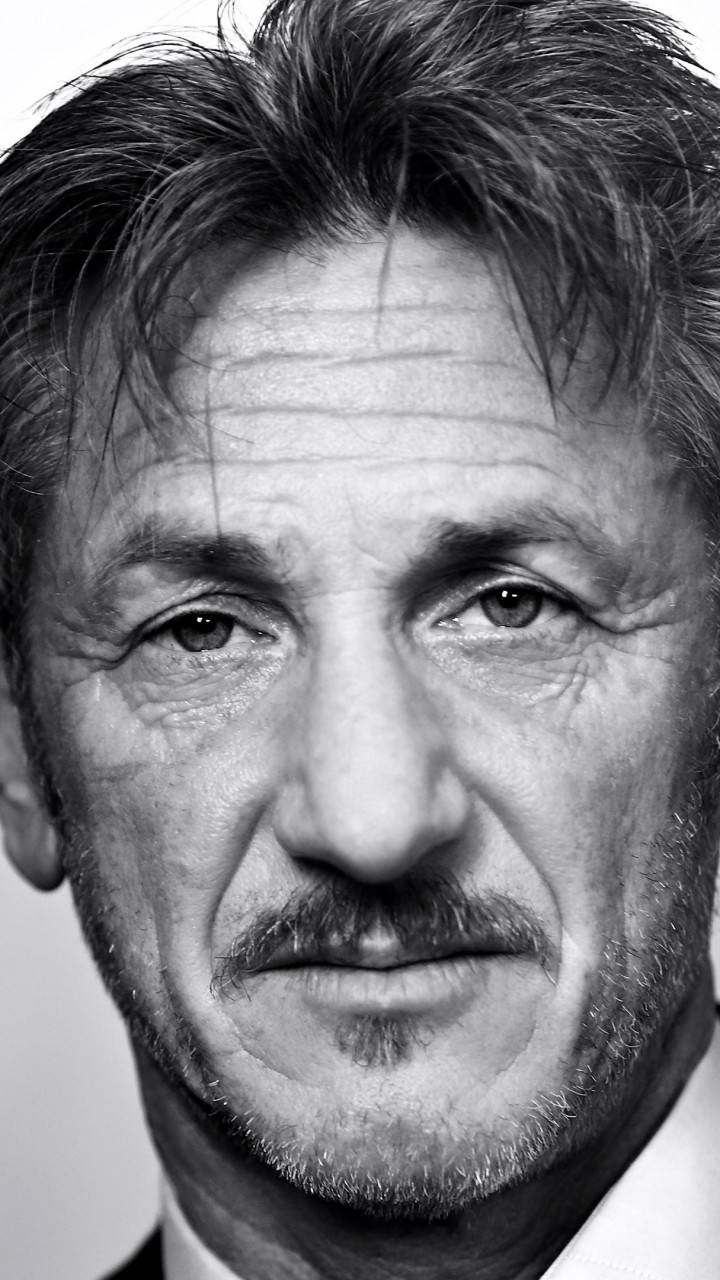 Sean Penn Portrait in Black & White Wallpaper for SAMSUNG Galaxy Note 2