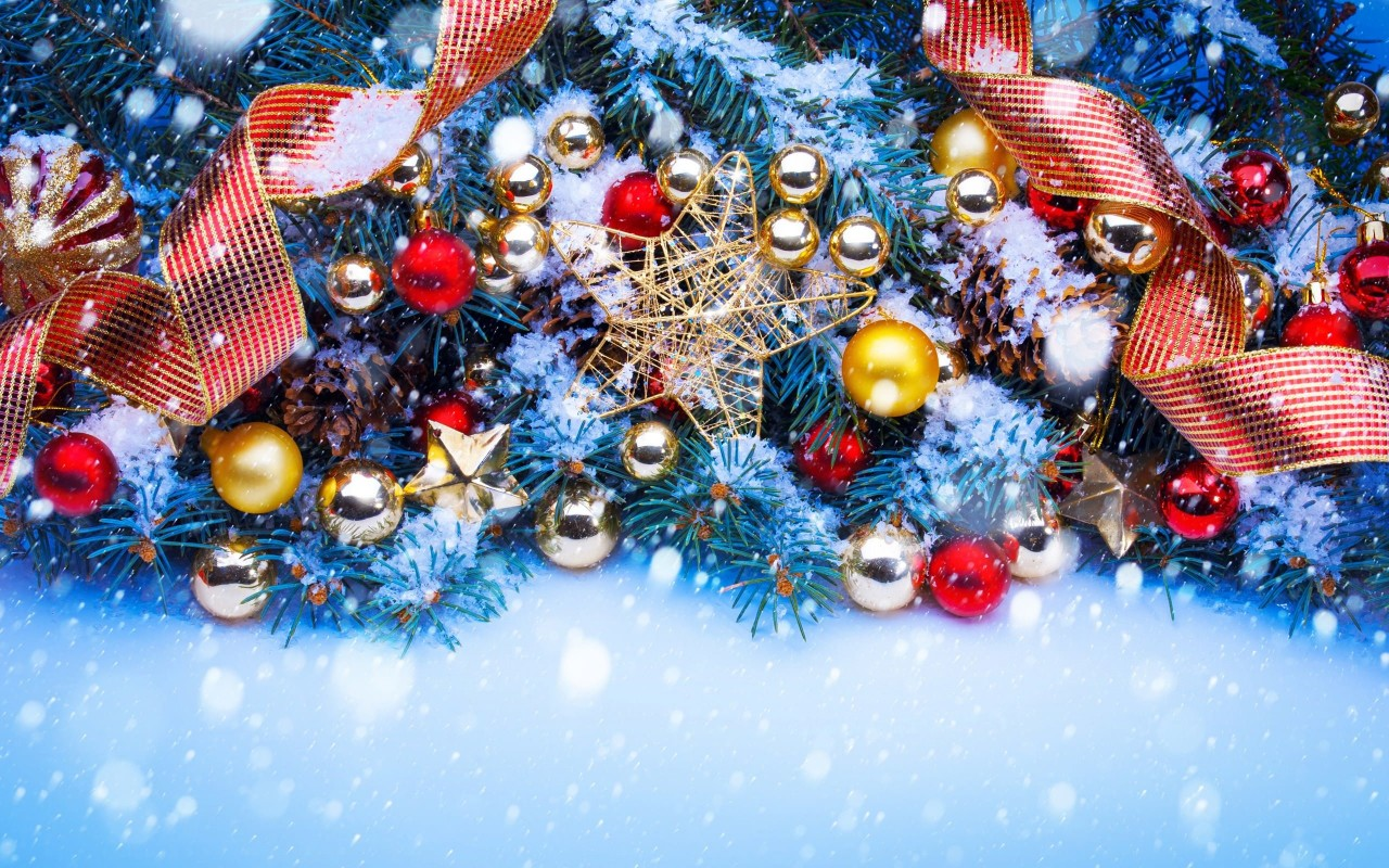 Shining Stars Christmas Ornaments and Decorations Wallpaper for Desktop 1280x800