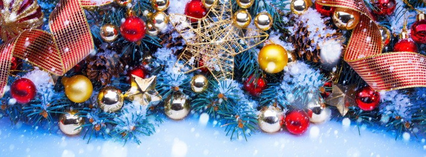 Shining Stars Christmas Ornaments and Decorations Wallpaper for Social Media Facebook Cover