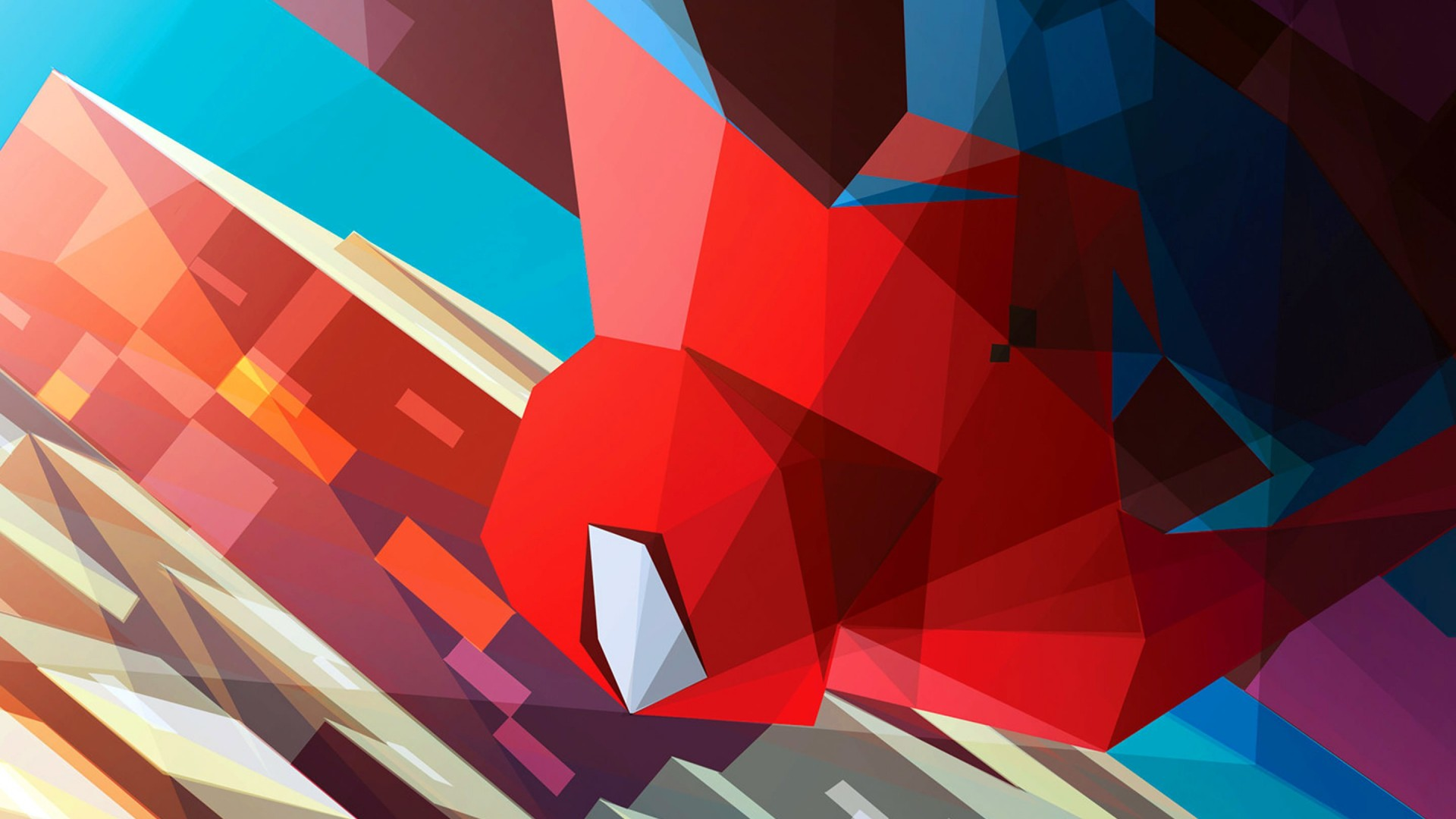 Spiderman Low Poly Illustration Wallpaper for Desktop 1920x1080
