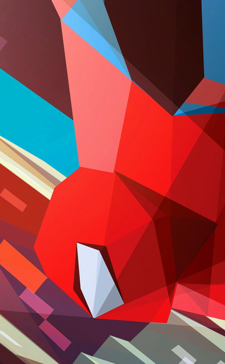 Spiderman Low Poly Illustration Wallpaper for Apple iPhone 4 / 4s