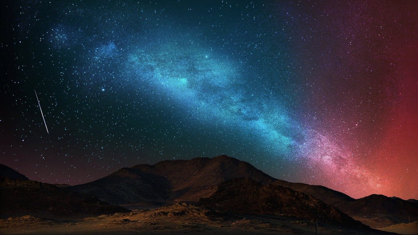 Starry Night Over The Desert Wallpaper for Desktop 1366x768