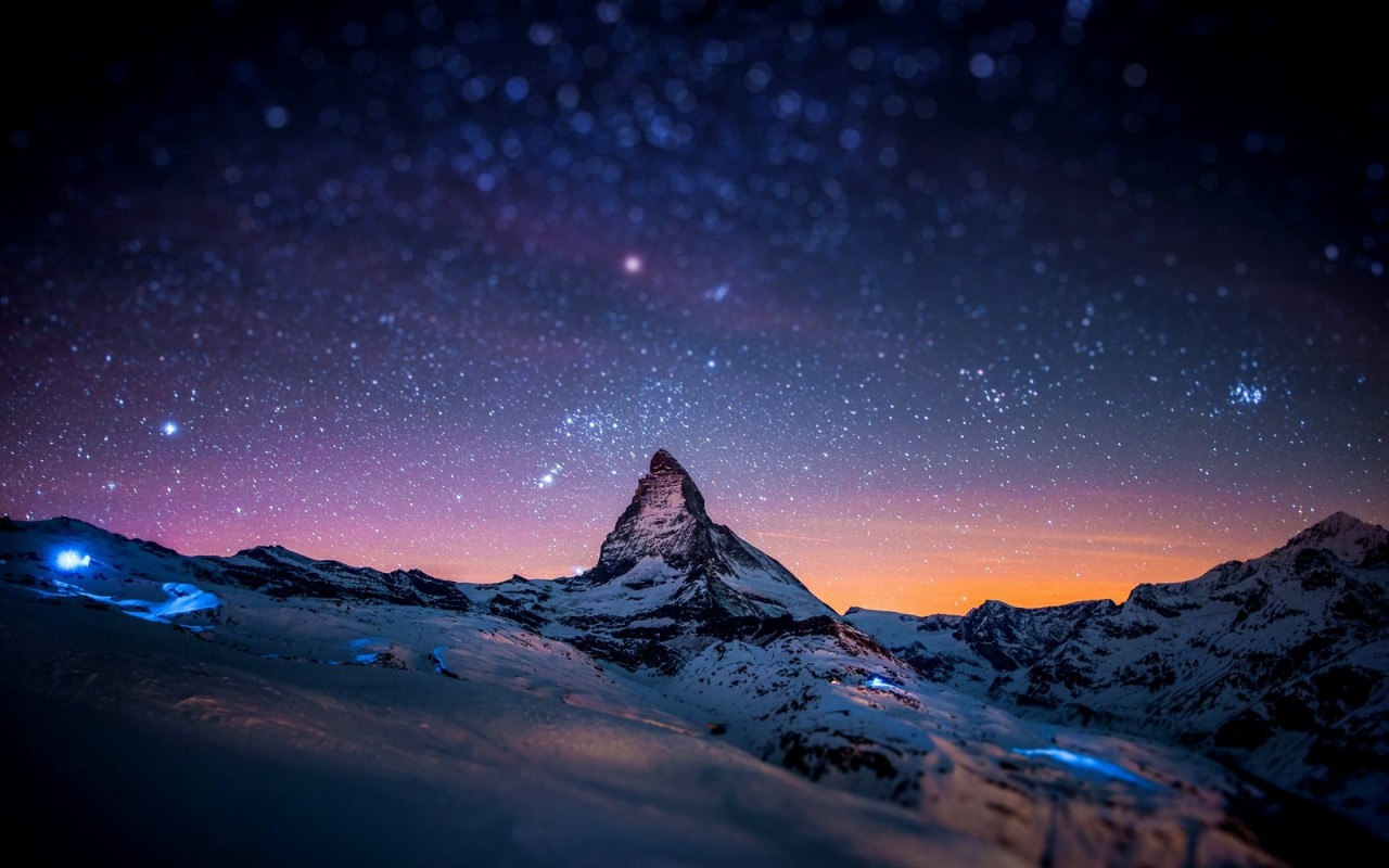 Starry Night Over The Matterhorn Wallpaper for Desktop 1280x800
