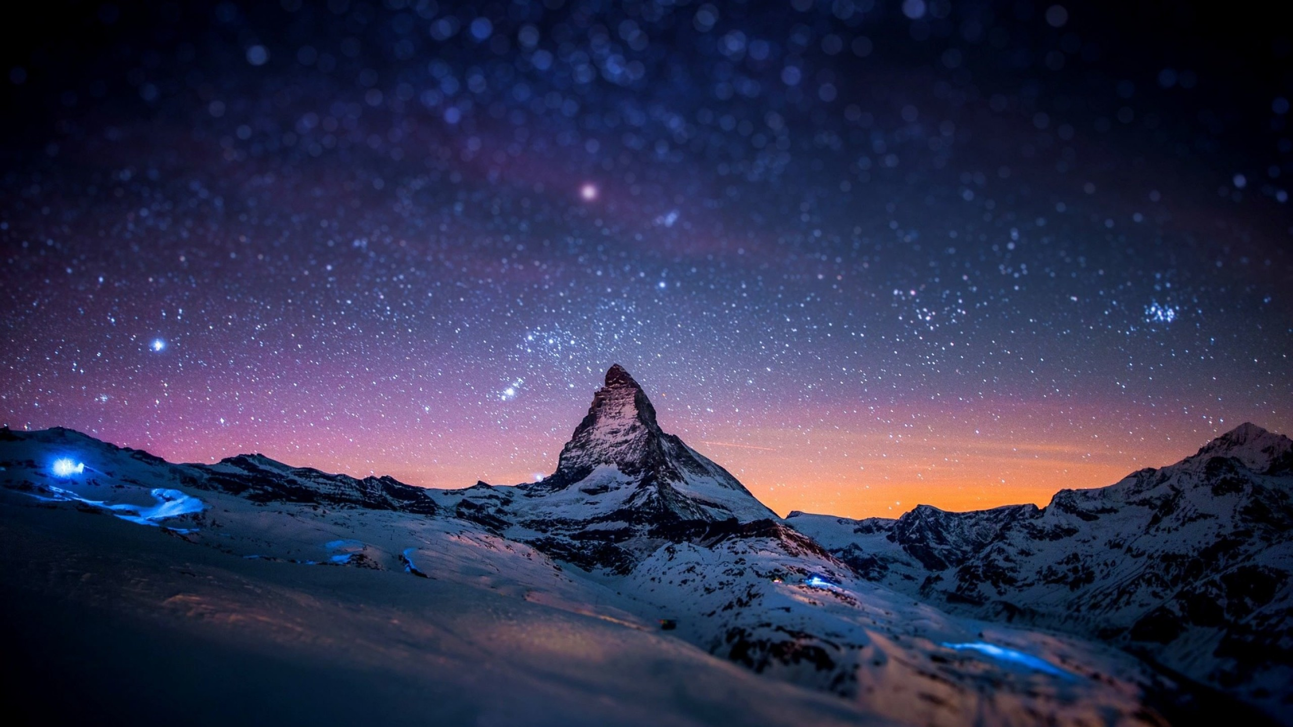 Starry Night Over The Matterhorn Wallpaper for Desktop 2560x1440
