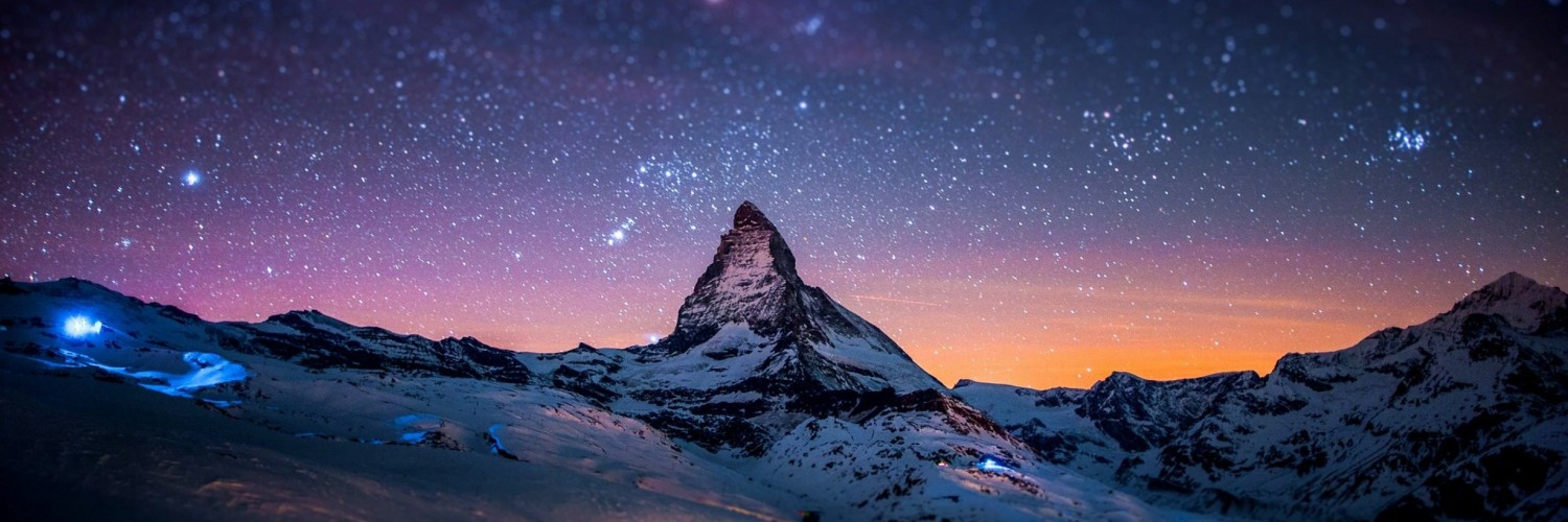 Starry Night Over The Matterhorn Wallpaper for Social Media Twitter Header