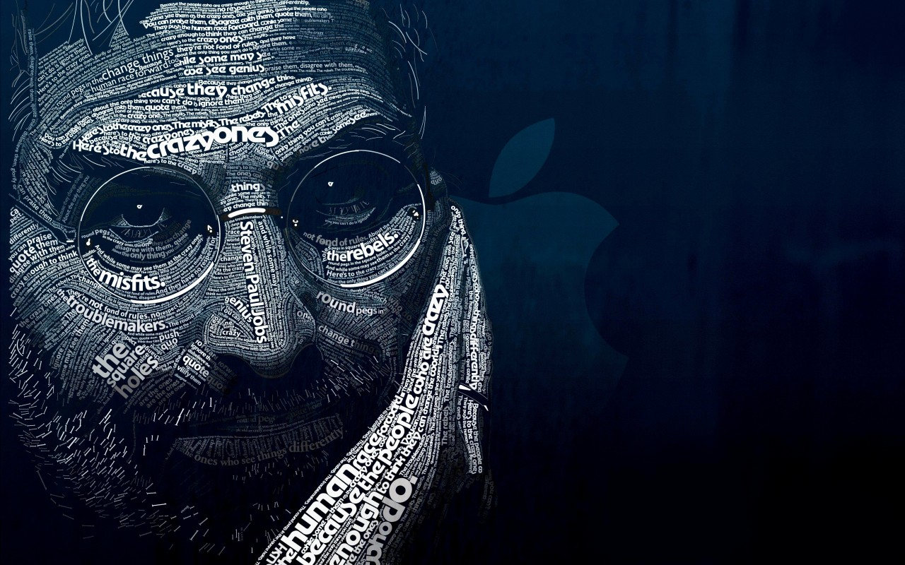 Steve Jobs Typographic Portrait Wallpaper for Desktop 1280x800