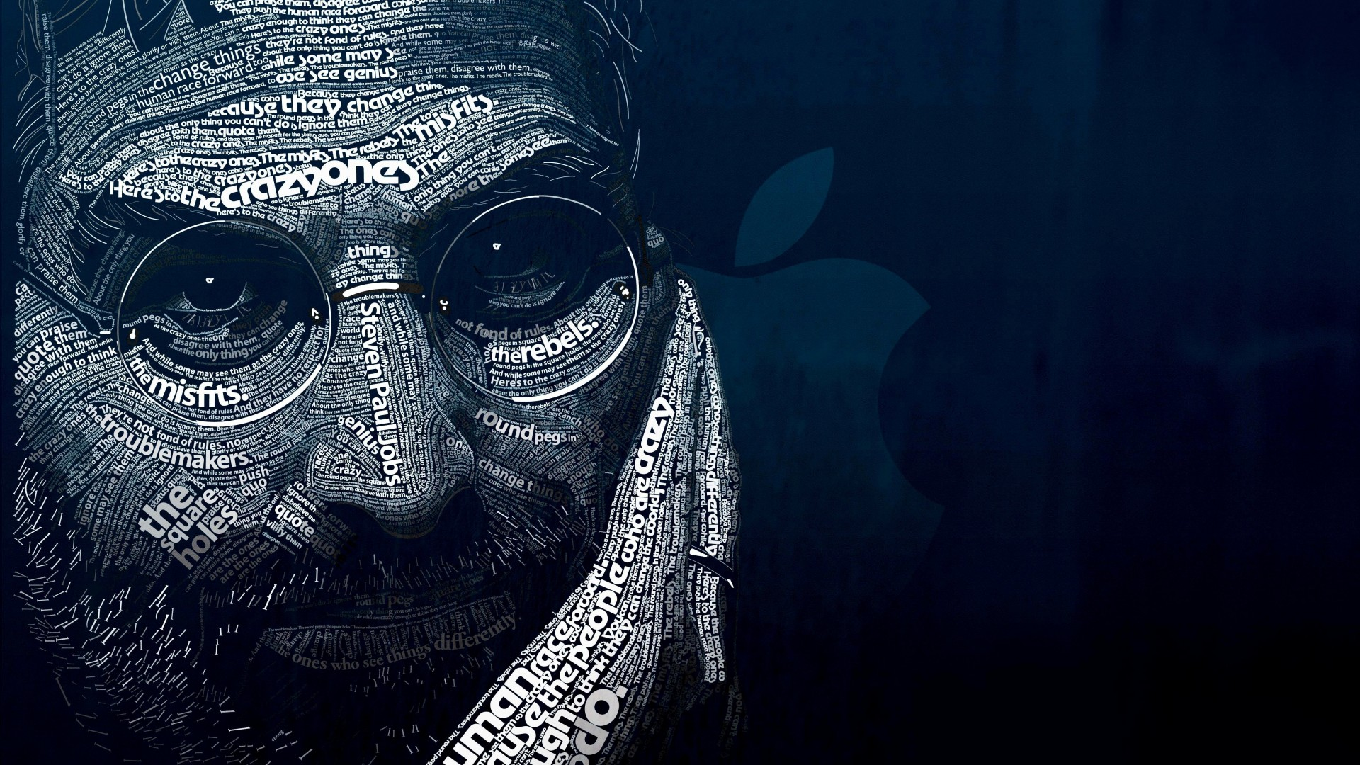Steve Jobs Typographic Portrait Wallpaper for Desktop 1920x1080