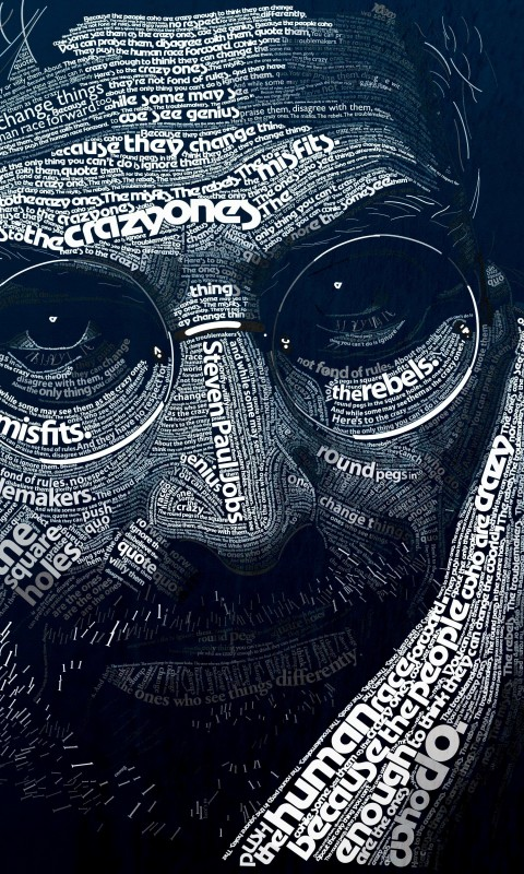 Steve Jobs Typographic Portrait Wallpaper for SAMSUNG Galaxy S3 Mini