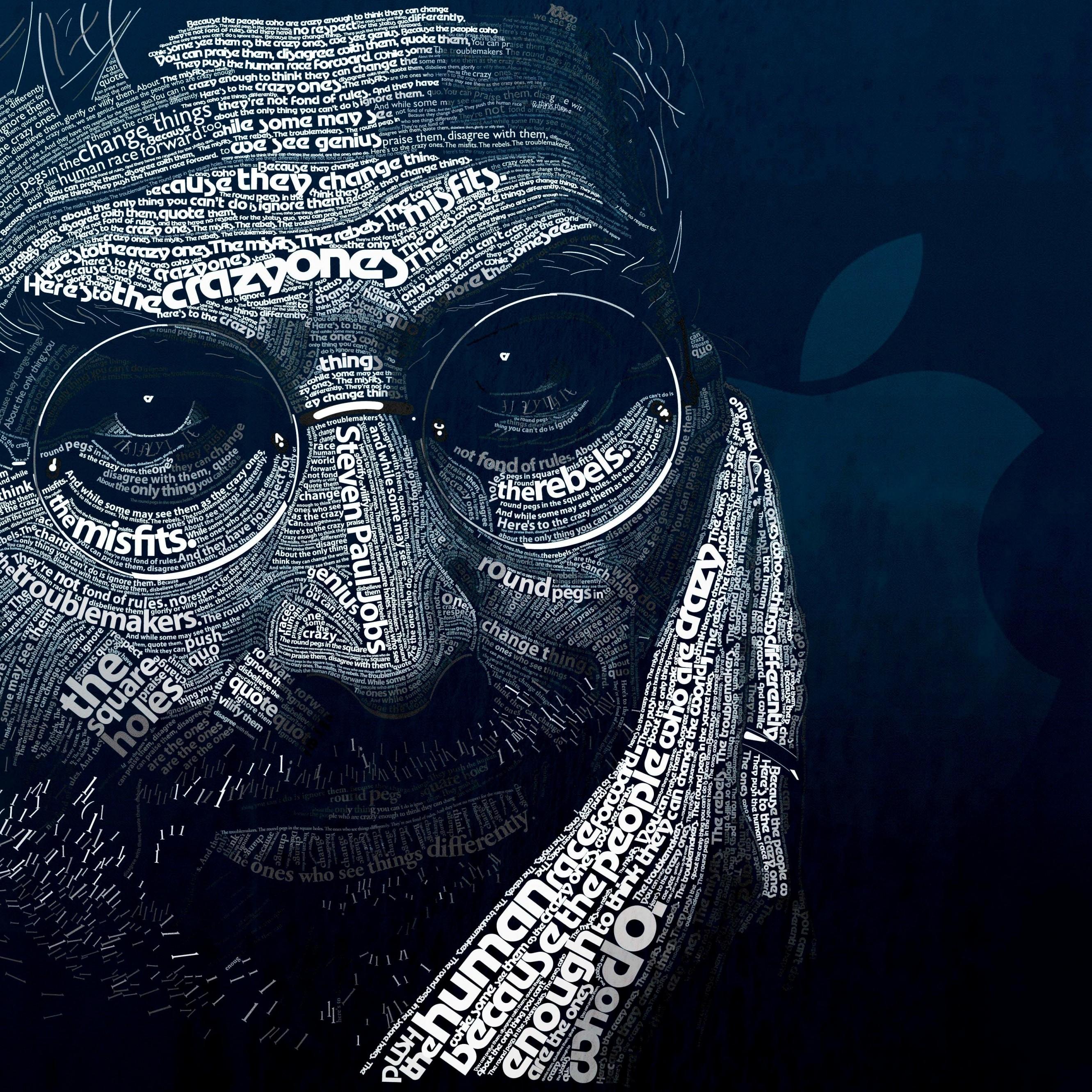 Portrait Wallpaper: Steve Jobs Typographic Portrait HD Wallpaper For IPhone 6
