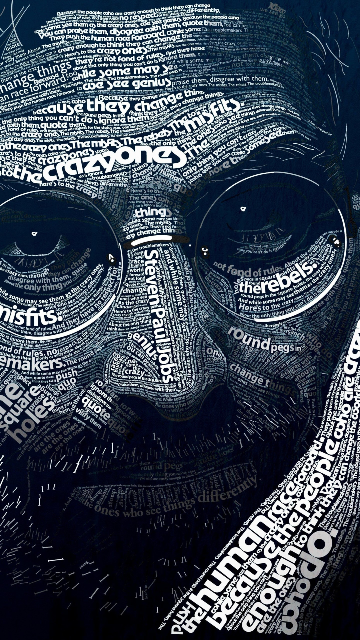 Steve Jobs Typographic Portrait Wallpaper for LG G3