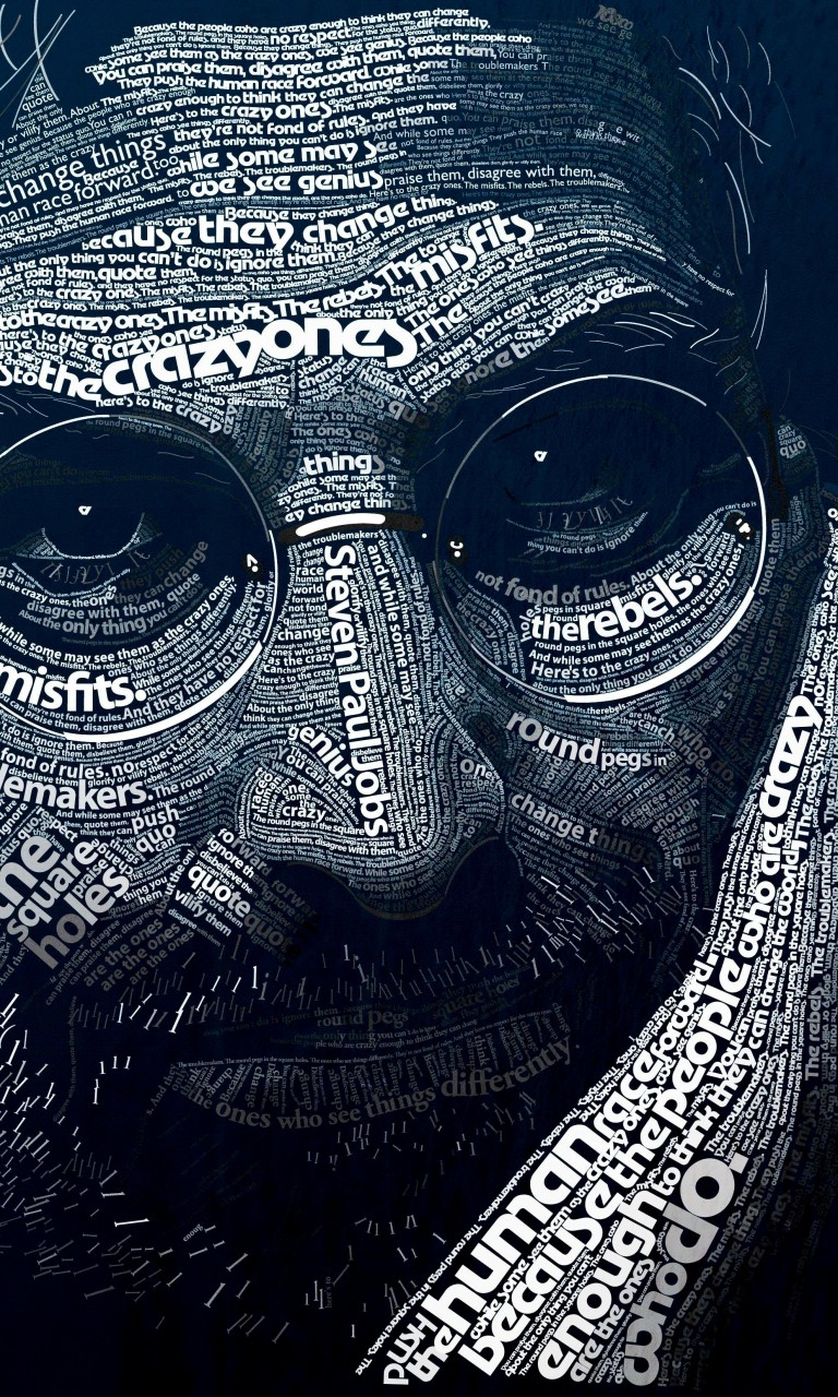Steve Jobs Typographic Portrait Wallpaper for LG Optimus G