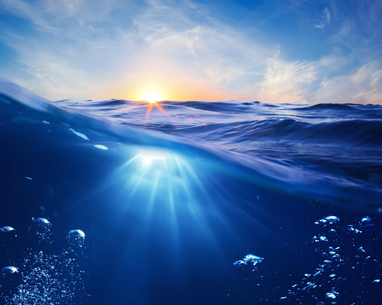 Sunrise Half Underwater Wallpaper for Desktop 1280x1024