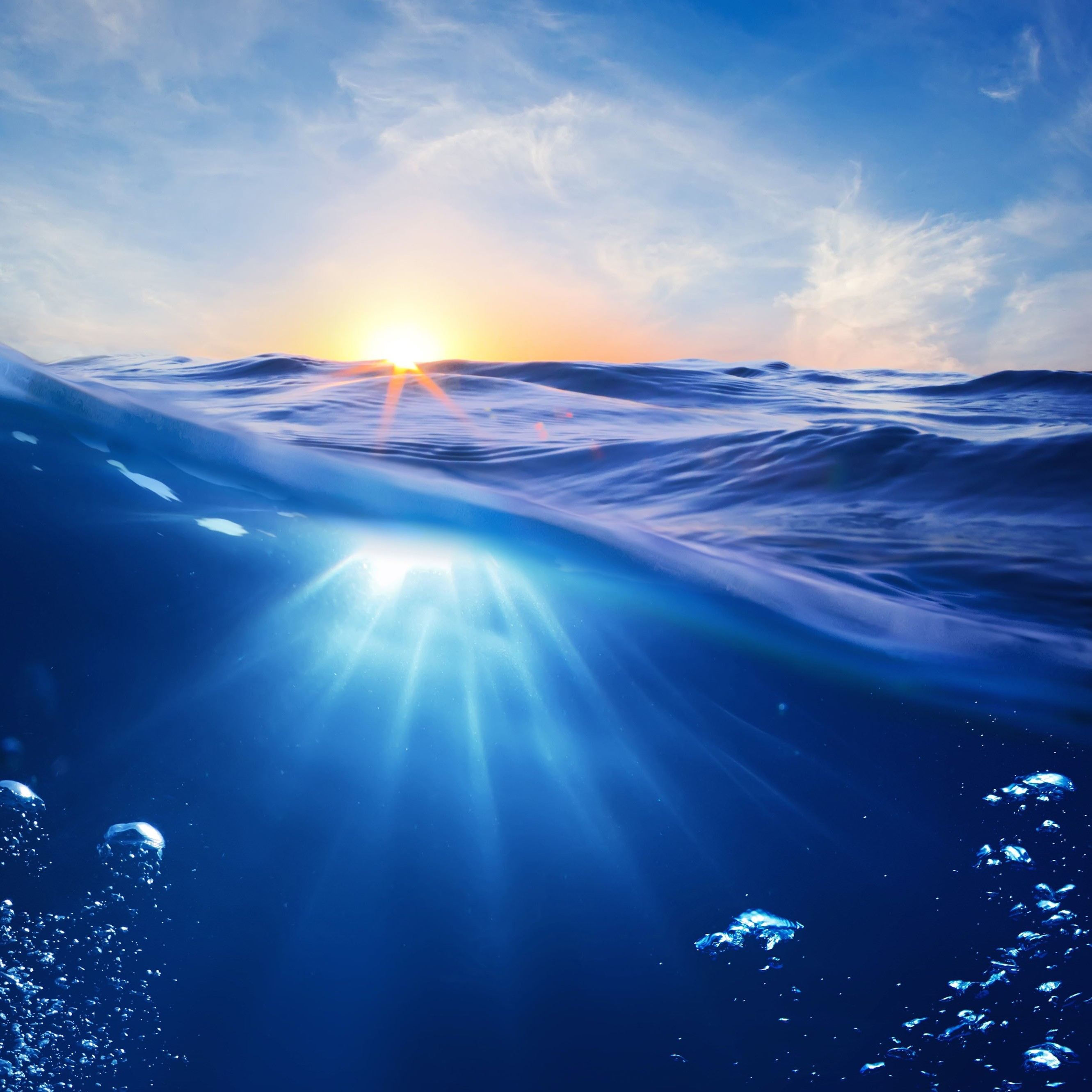 Sunrise Half Underwater Wallpaper for Apple iPhone 6 Plus