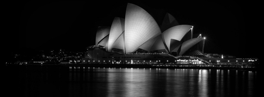 Sydney Opera House at Night in Black & White Wallpaper for Social Media Facebook Cover