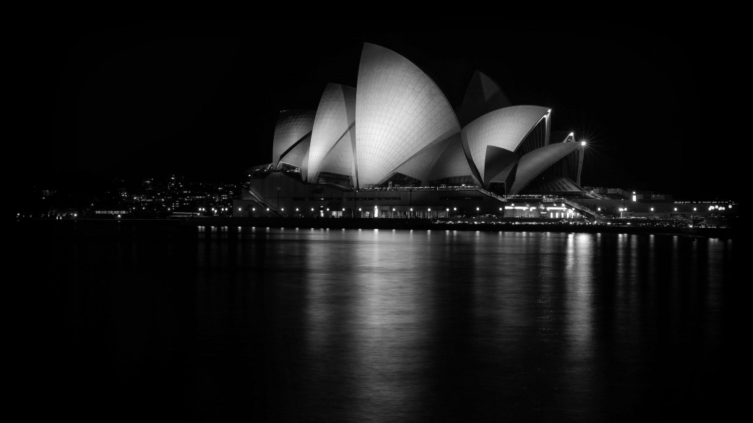 Sydney Opera House at Night in Black & White Wallpaper for Social Media Google Plus Cover