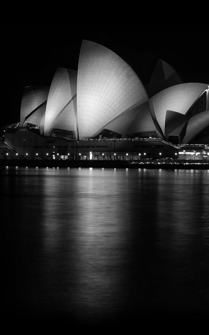 Sydney Opera House at Night in Black & White Wallpaper for Amazon Kindle Fire HD