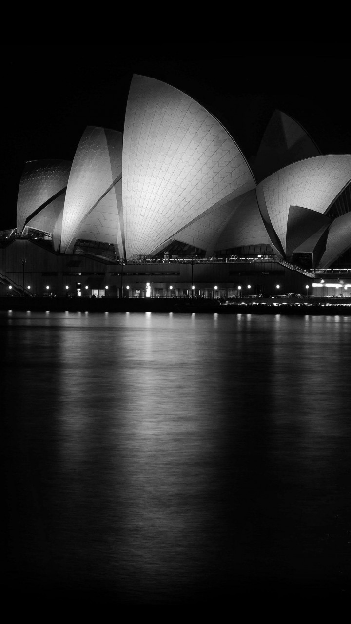 Sydney Opera House at Night in Black & White Wallpaper for Lenovo A6000
