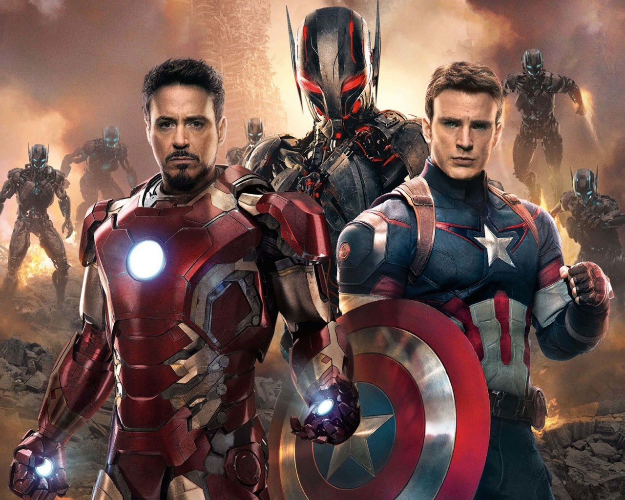 The Avengers: Age of Ultron - Iron Man and Captain America Wallpaper for Desktop 1280x1024
