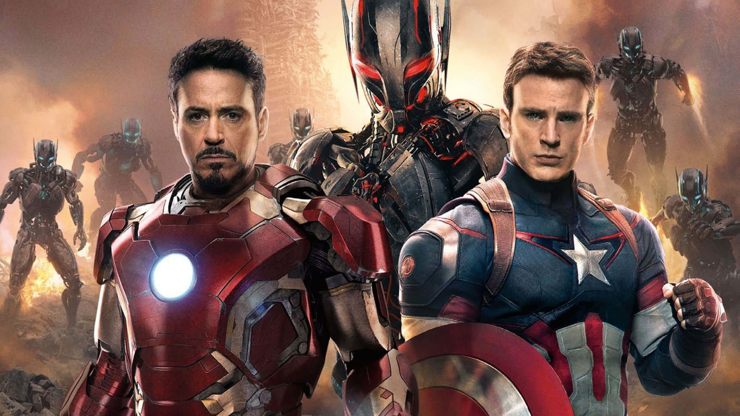 The Avengers: Age of Ultron - Iron Man and Captain America Wallpaper for Social Media YouTube Channel Art