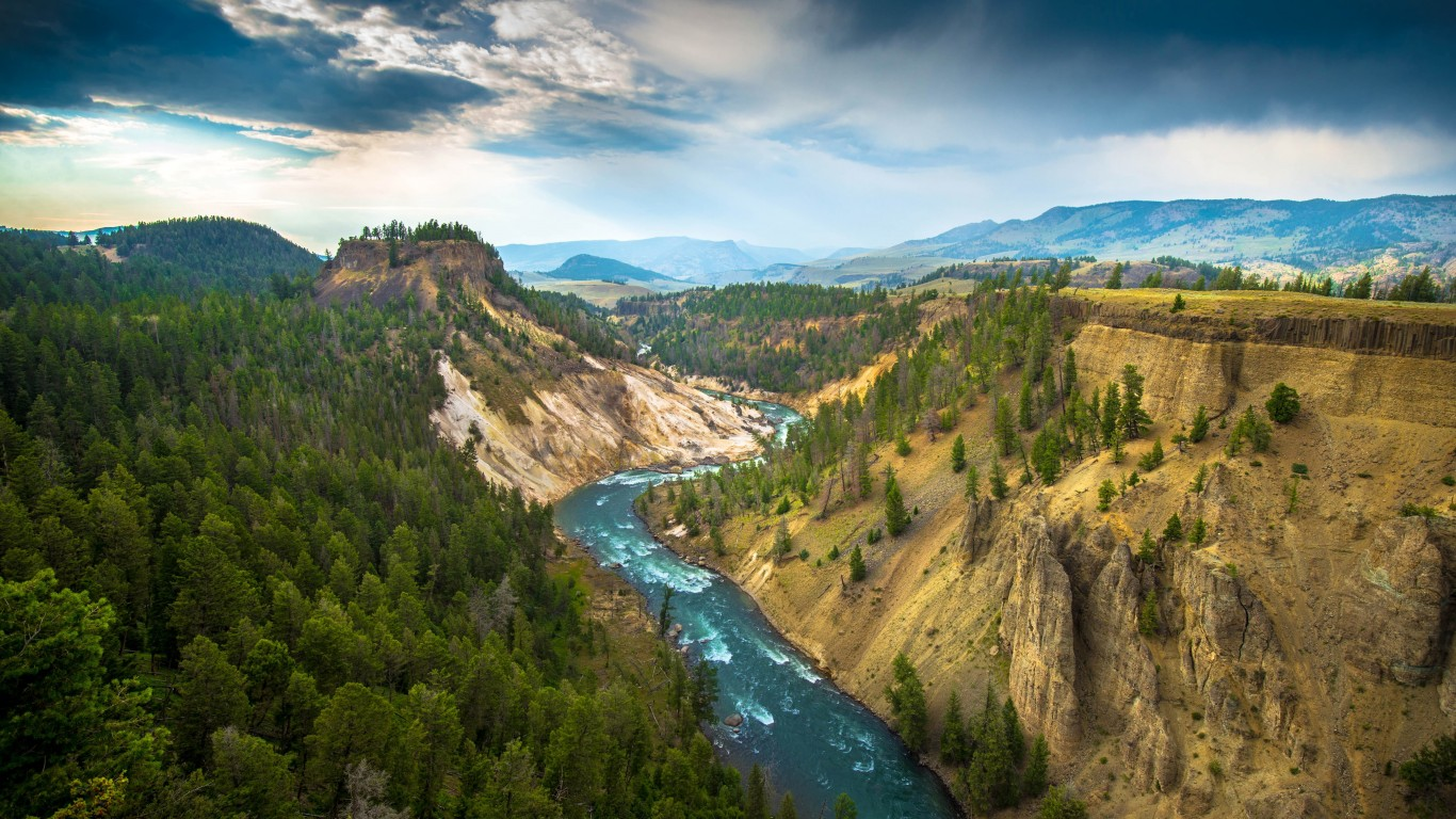 The River, Grand Canyon of Yellowstone National Park, USA Wallpaper for Desktop 1366x768