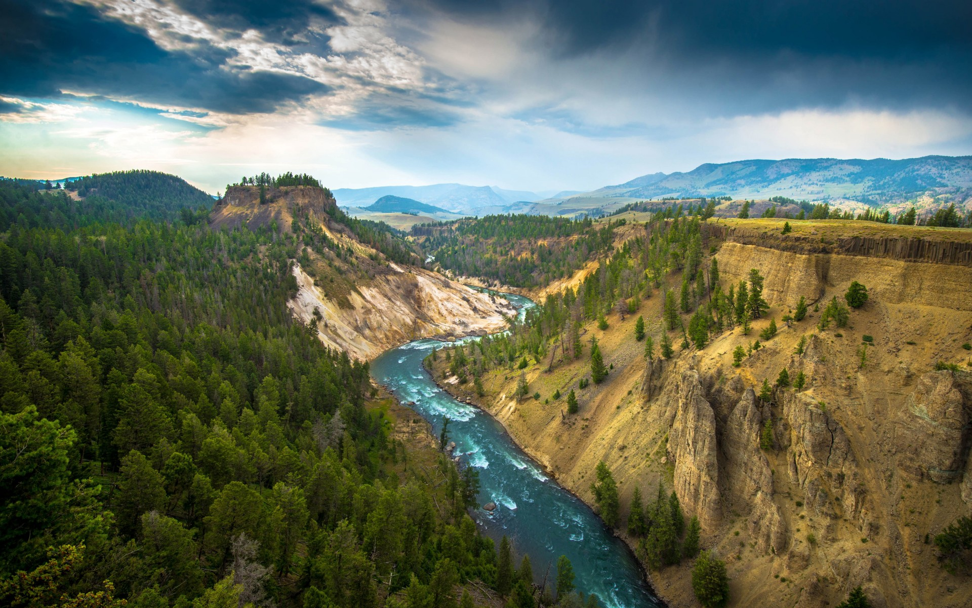 The River, Grand Canyon of Yellowstone National Park, USA Wallpaper for Desktop 1920x1200