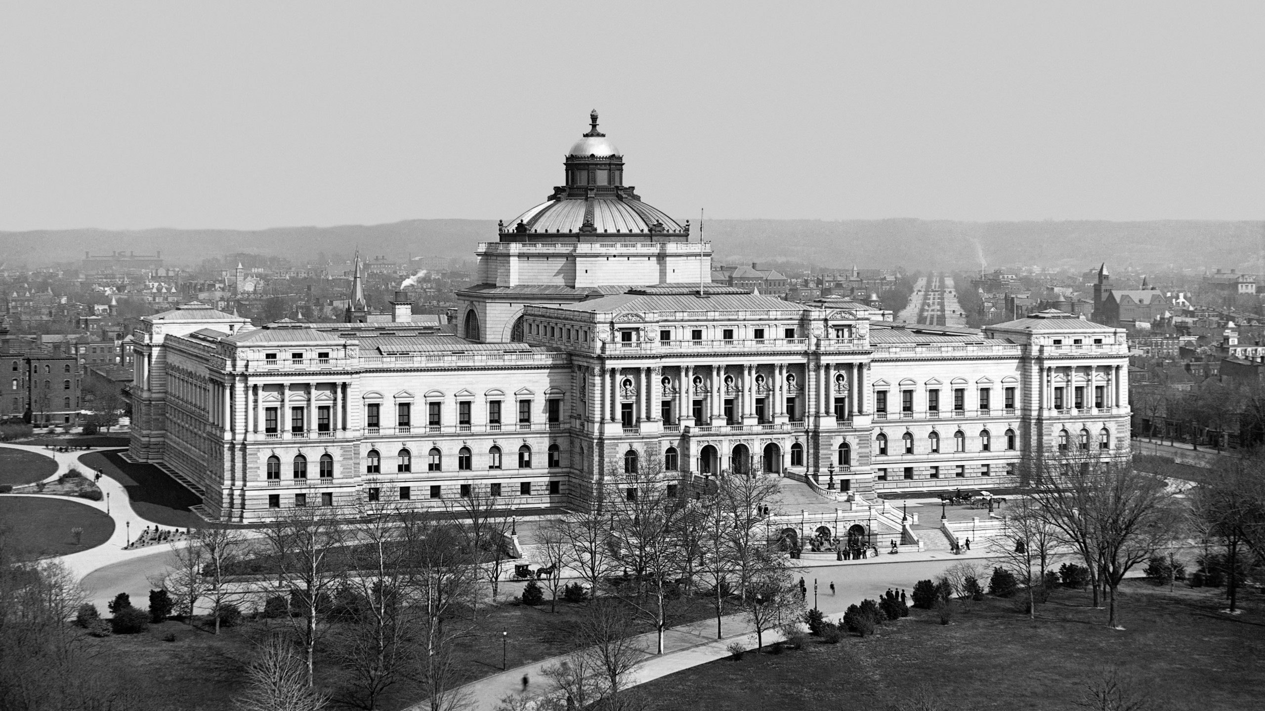 Thomas Jefferson Building, year 1902, Washington, D.C. Wallpaper for Social Media YouTube Channel Art